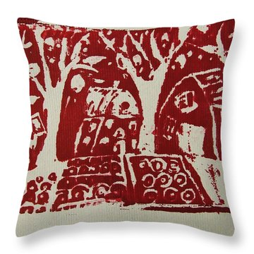 Throw Pillow featuring the painting Blood Rituals In Red For The Mayan Forest Agriculture With Trees Houses And Land Plots by M Zimmerman