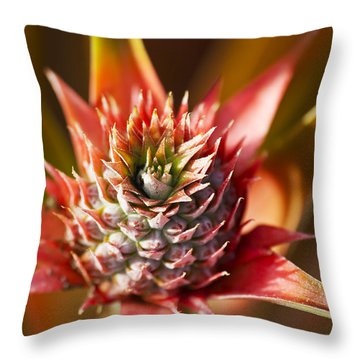 Blooming Pineapple Throw Pillow by Ron Dahlquist