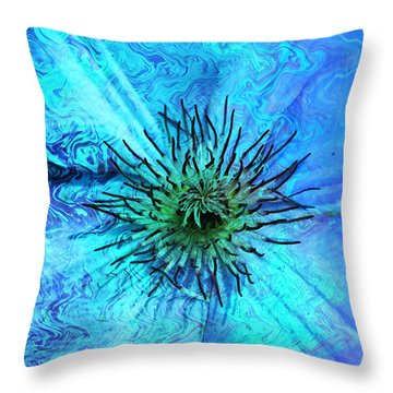 Blooming Ripples Throw Pillow