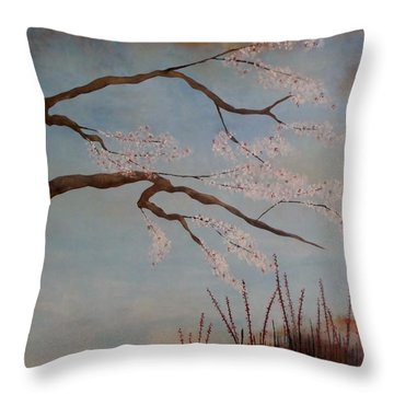 Blossoms Over The Lake Throw Pillow by Catherine JN Christopher
