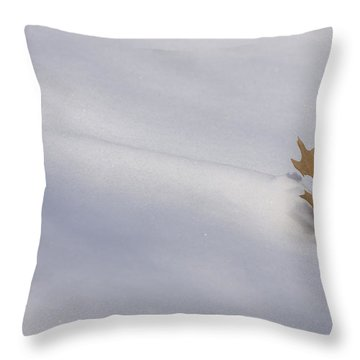 Blown Snow And Oak Leaf Throw Pillow