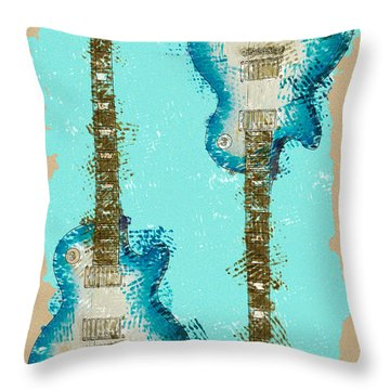 Blue Abstract Guitars Throw Pillow by David G Paul