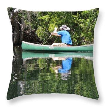 Blue Amongst The Greens - Canoeing On The St. Marks Throw Pillow by Marilyn Holkham
