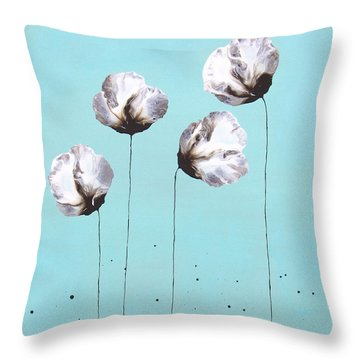 Blue And Brown Flower Painting Felicity Throw Pillow by Catherine Jeltes