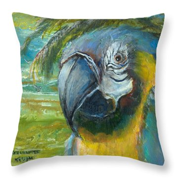 Blue And Gold Macaw By The Sea Throw Pillow