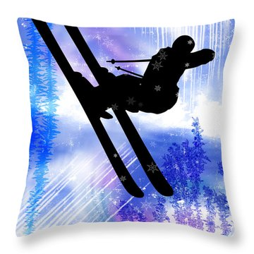 Blue And White Splashes With Ski Jump Throw Pillow by Elaine Plesser