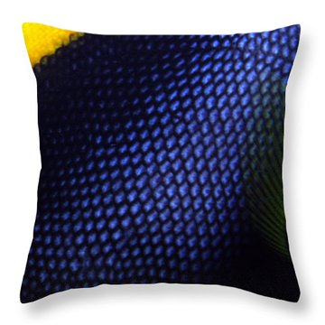 Blue And Yellow Scales Throw Pillow