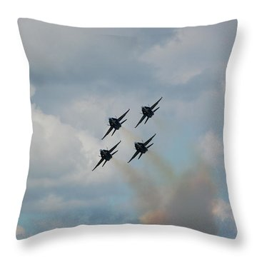 Blue Angels Roaring By Throw Pillow by Randy J Heath