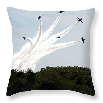 Blue Angels Star Burst Throw Pillow by Kevin Fortier