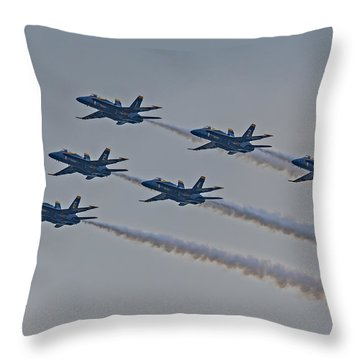 Blue Angels Throw Pillow by Susan Candelario