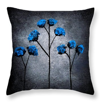 Throw Pillow featuring the painting Blue Beauties by Oddball Art Co by Lizzy Love