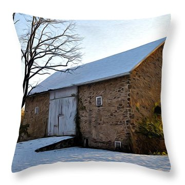 Blue Bell Barn Throw Pillow by Bill Cannon