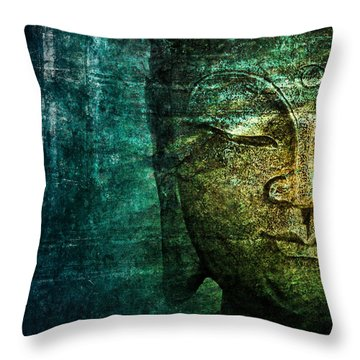 Blue Buddha Throw Pillow by Claudia Moeckel