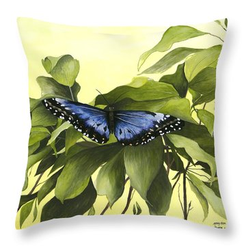 Blue Butterfly Of Branson Throw Pillow