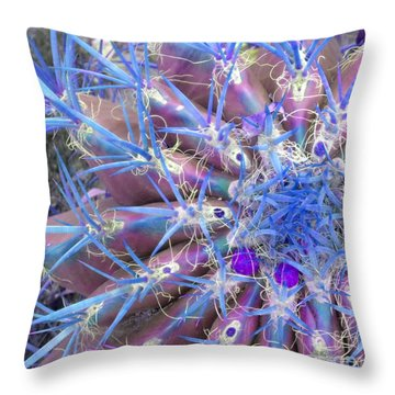 Blue Cactus Throw Pillow by Rebecca Margraf