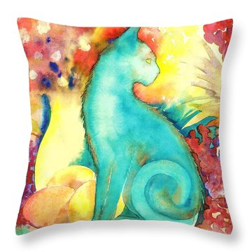 Blue Damsel Throw Pillow