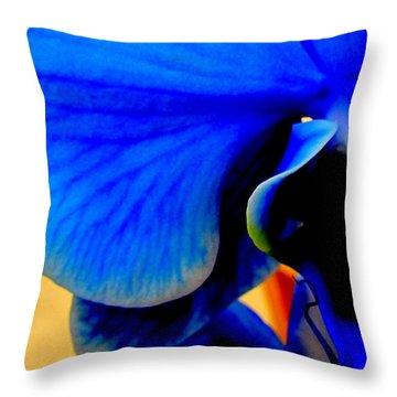 Blue Diamonds Orchids Throw Pillow