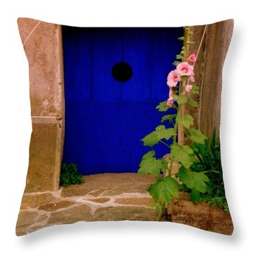 Blue Door And Pink Hollyhocks Throw Pillow