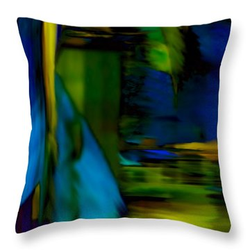 Blue Feather Reflections Throw Pillow by Mathilde Vhargon