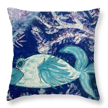 Blue Fish Called Flow Throw Pillow