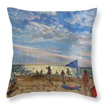 Blue Flag And Red Sun Shade Throw Pillow