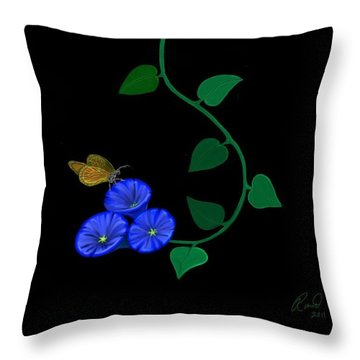 Blue Flower Butterfly Throw Pillow
