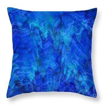 Blue Glass - Abstract Art Throw Pillow by Carol Groenen