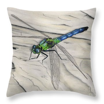 Blue-green Dragonfly Throw Pillow