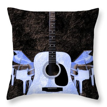 Blue Guitar Butterfly Throw Pillow by Andee Design