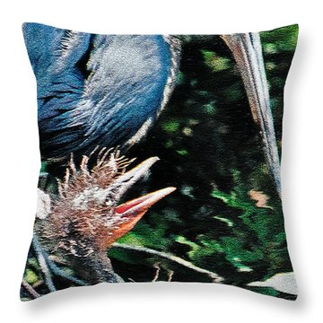 Blue Heron Family Throw Pillow by Lydia Holly