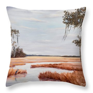 Blue Heron In Midwinter Throw Pillow