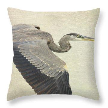 Blue Heron On Canvas Throw Pillow by Deborah Benoit