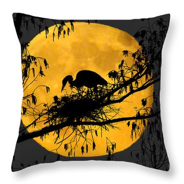 Throw Pillow featuring the photograph Blue Heron On Roost by Dan Friend