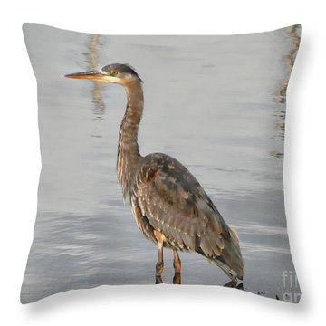 Blue Heron Wading Throw Pillow
