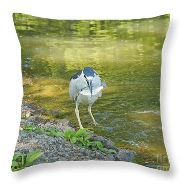 Blue Heron With Fish One Throw Pillow