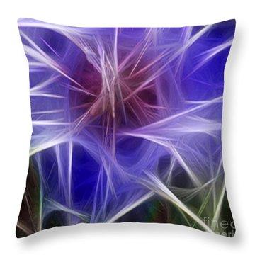 Blue Hibiscus Fractal Panel 2 Throw Pillow by Peter Piatt