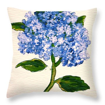 Blue Hydrangea Throw Pillow by Leea Baltes