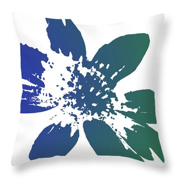 Blue In Bloom Throw Pillow