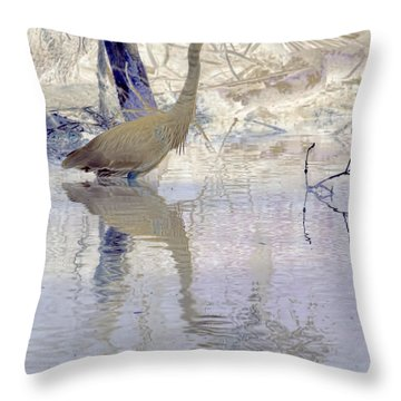 Blue Inverted Throw Pillow by Deborah Benoit