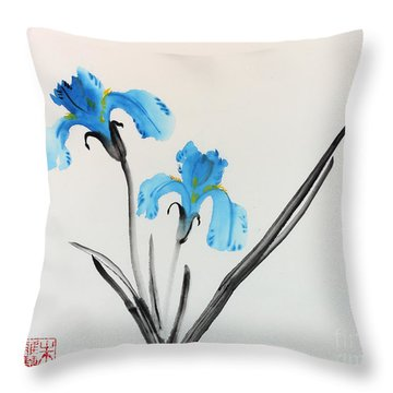 Blue Iris I Throw Pillow