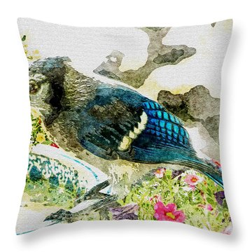 Blue Jay Art Throw Pillow by Debbie Portwood