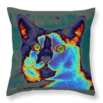 Blue Kitty Throw Pillow