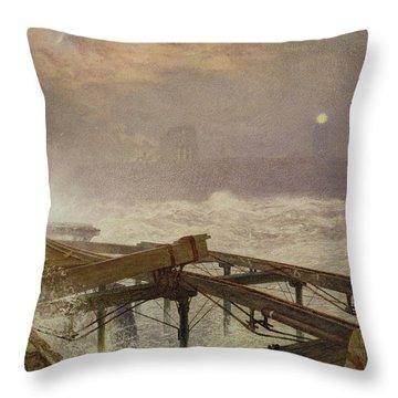 Blue Lights - Teignemouth Pier Throw Pillow
