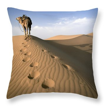 Blue Man Tribe Of Saharan Traders With Throw Pillow by Axiom Photographic