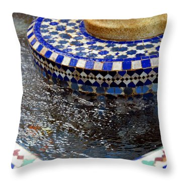 Blue Mosaic Fountain II Throw Pillow