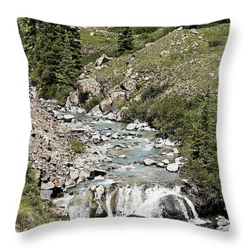 Blue Mountain Stream Throw Pillow