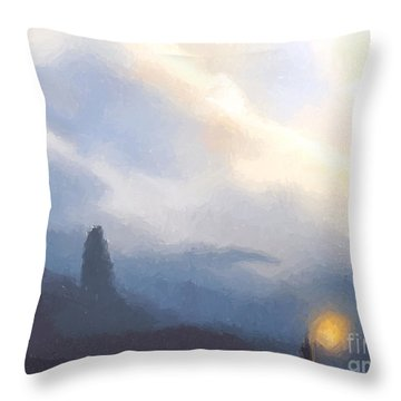 Blue Mountains  Throw Pillow by Pixel  Chimp