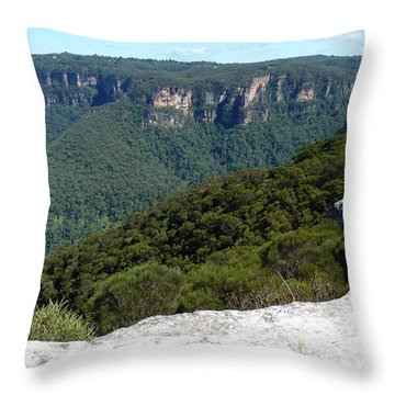 Blue Mountains Throw Pillow by Carla Parris