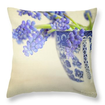 Blue Muscari Flowers In Blue And White China Cup Throw Pillow by Lyn Randle