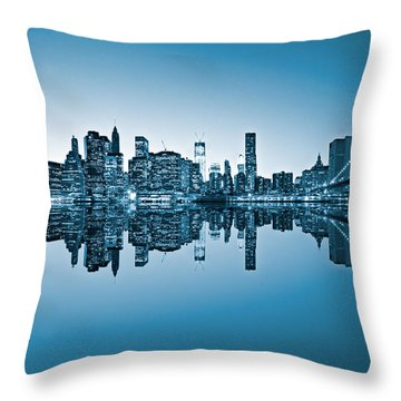 Throw Pillow featuring the photograph Blue New York City by Luciano Mortula